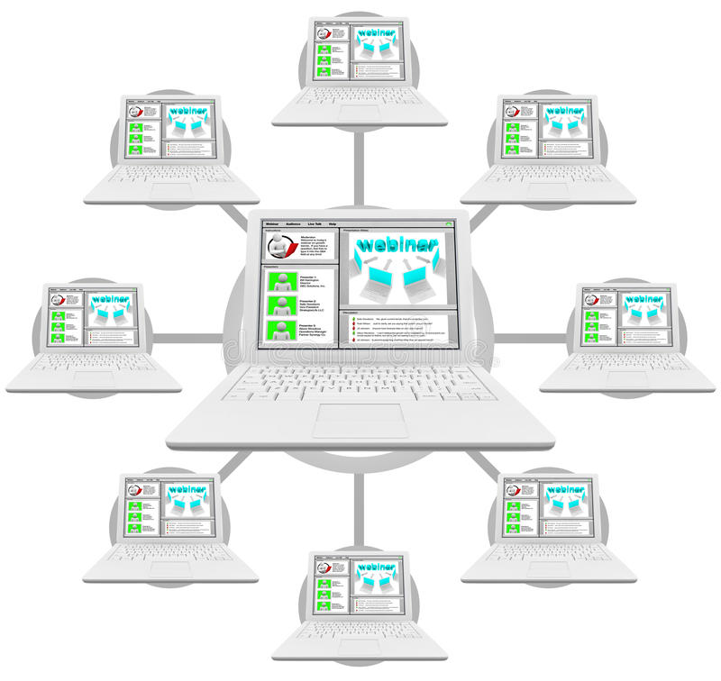Download Webinar - Network Of Linked Computers Stock Illustration - Illustration of electronic, grid: 14715177