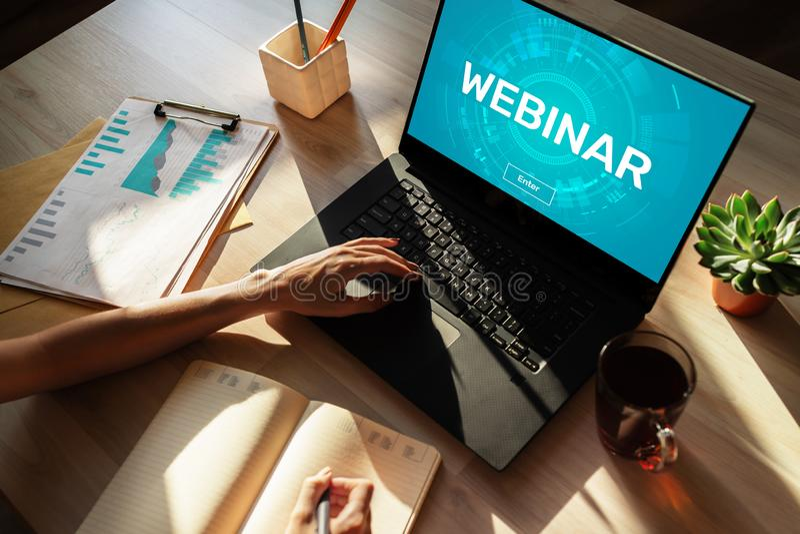 Webinar Onderwijs, e-Leert, zakenonderricht en persoonlijk Ontwikkelingsconcept royalty-vrije stock fotografie