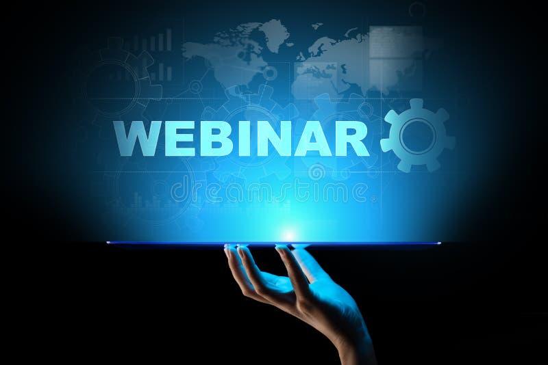 Webinar, Online szkolenie, poj?cie na wirtualnym ekranie, edukacji i nauczania online obraz stock