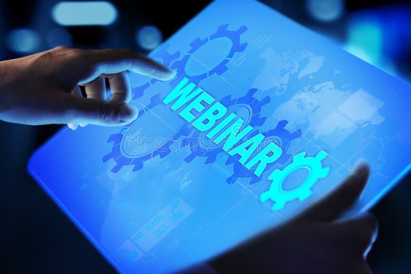 Webinar online-utbildning, utbildning och E-lära begrepp på den faktiska skärmen royaltyfri foto