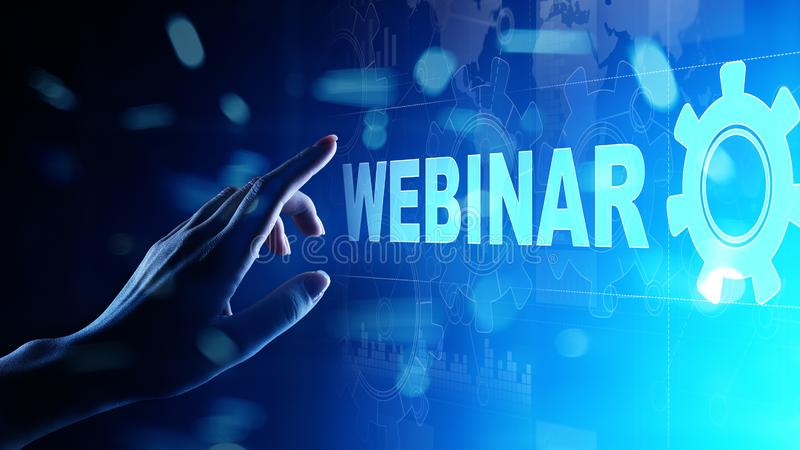 Webinar, Onlinetraining, Onderwijs en e-Lerend concept op het virtuele scherm royalty-vrije stock foto's