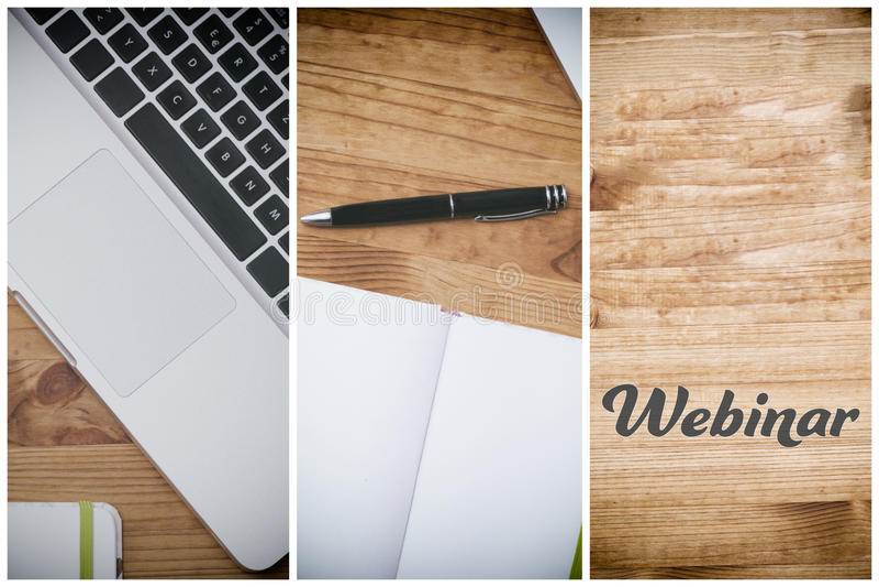 Webinar, PC sur le bureau en bois photographie stock libre de droits