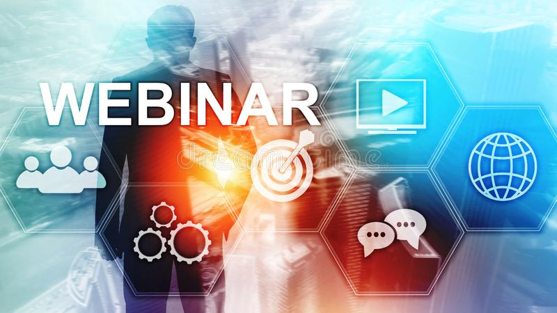 Webinar, Personal development and e-learning concept on blurred abstract background. Webinar, Personal development and e-learning concept on blurred abstract stock photos