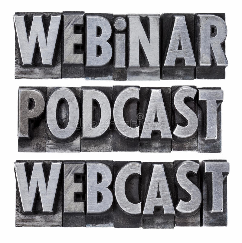 Webinar, podcast e webcast fotos de stock royalty free
