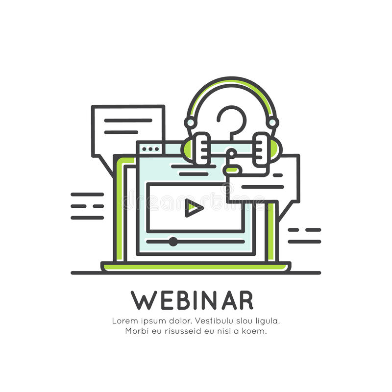 Webinar and Presentation Video Live Stream. Vector Icon Style Illustration of Webinar and Presentation Video Live Stream stock illustration