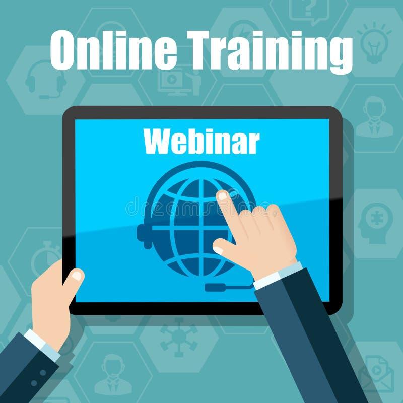 Webinar szkolenie, Online konferencja i edukacja, używać urządzenie przenośne royalty ilustracja