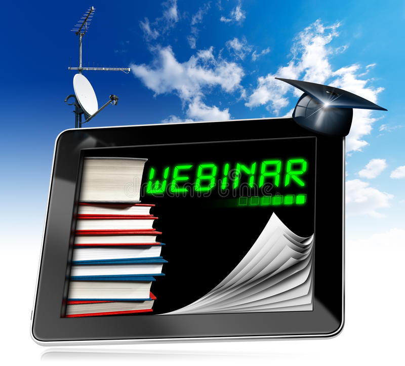 Webinar - Tablet Computer - Web-based Seminar stock illustration