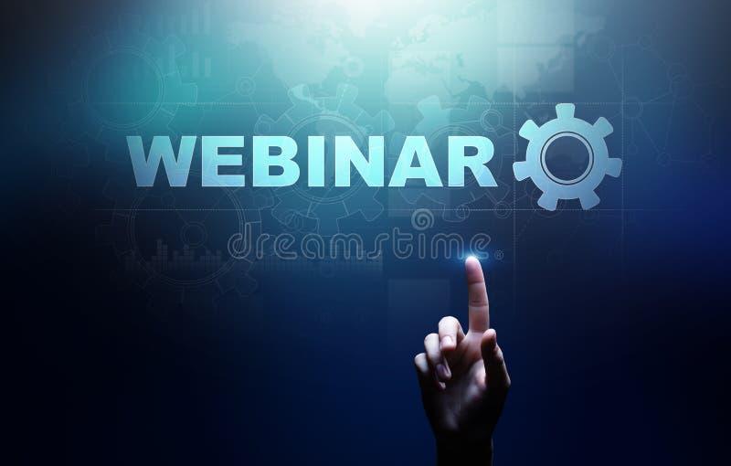 Webinar, treinamento em linha, conceito da educa??o e do ensino eletr?nico na tela virtual fotos de stock royalty free