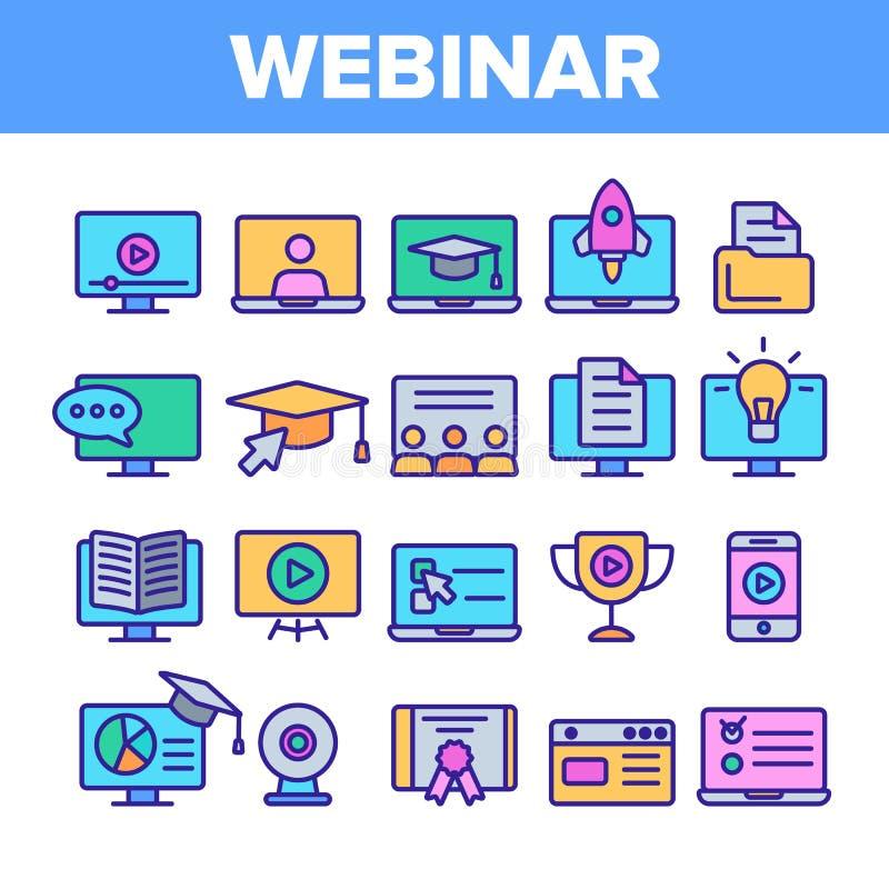 Webinar uppsättning för symboler för online-utbildningsvektor linjär stock illustrationer