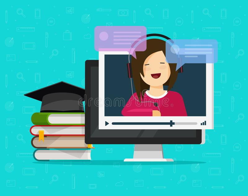 Webinar vector illustration, flat cartoon computer watching video online internet training, education on desktop pc. Learning or study concept, video call chat royalty free illustration