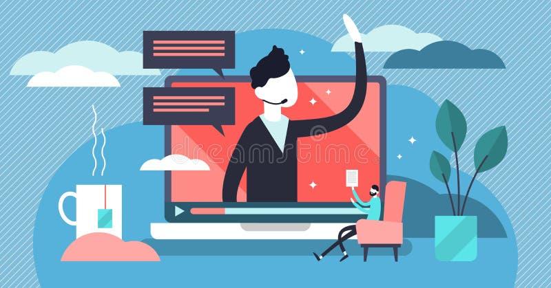 Webinar vector illustration. Flat tiny marketing video tool persons concept royalty free illustration