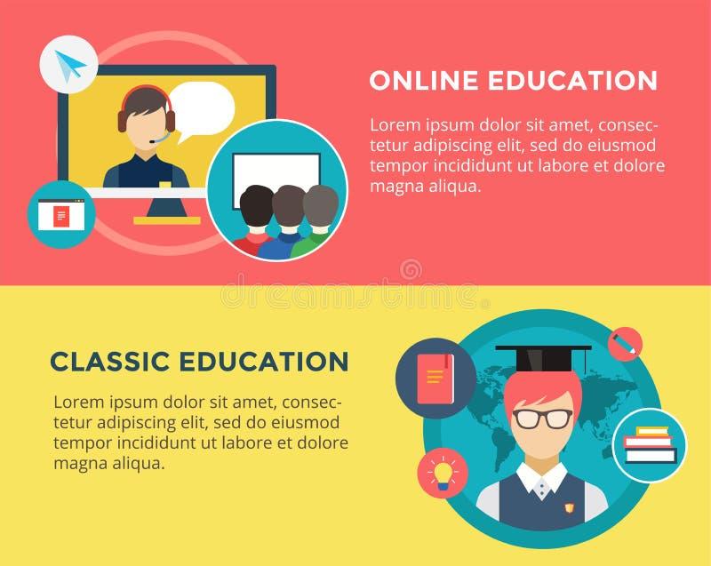Webinar vectorillustratie Online School stock illustratie