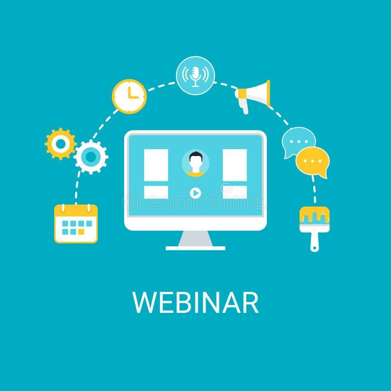 Webinar, Webcast, Livestream, Online Gebeurtenisillustratie royalty-vrije stock afbeeldingen