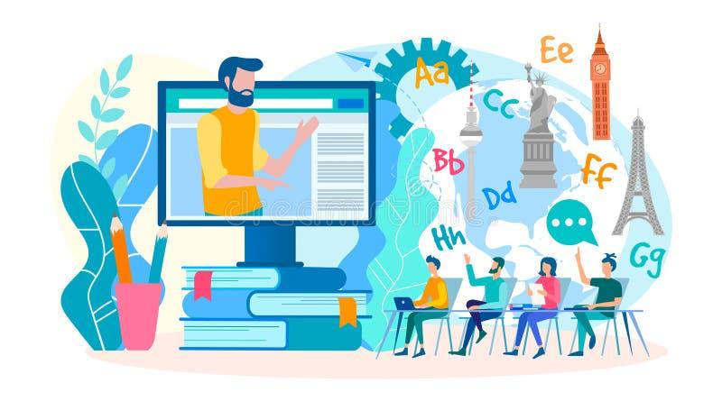 Webinars online, lezioni di lingua straniera online Classi nelle lingue straniere nel gruppo online Illustrazione di vettore illustrazione vettoriale