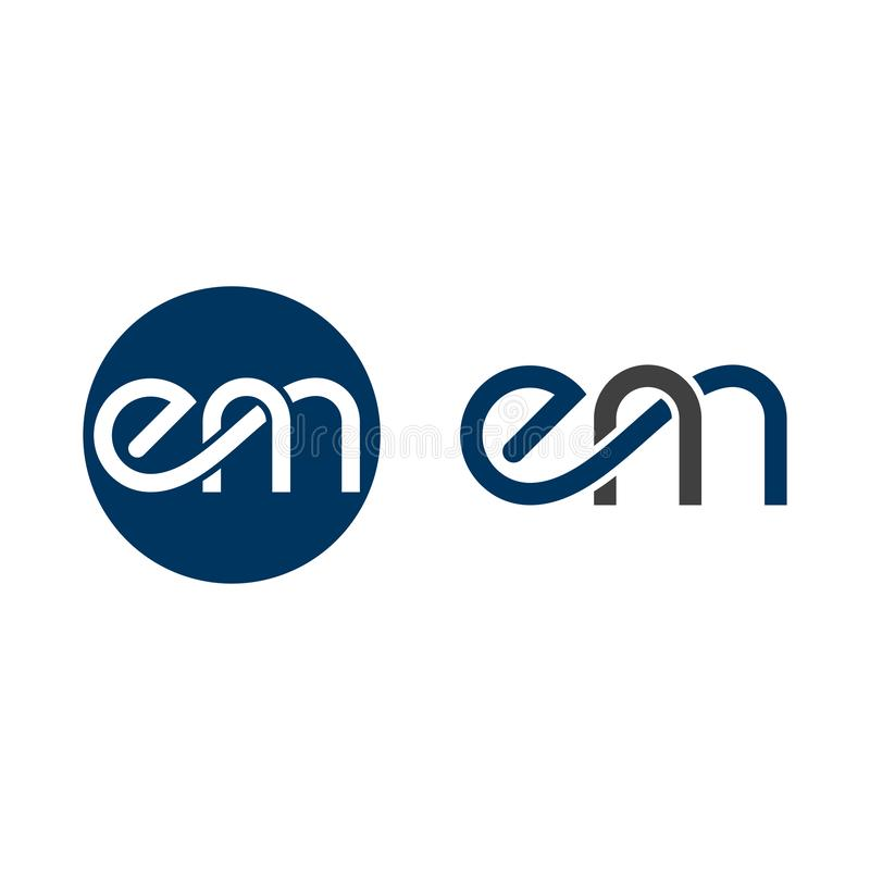 Webinitial letter em linked circle lowercase logo, Based Alphabet Iconic E M Logo Design, stock illustration