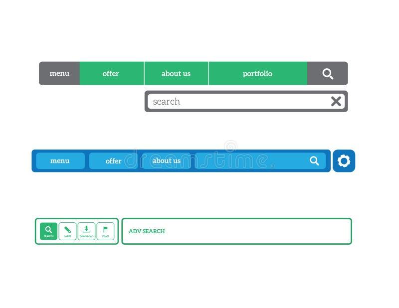 Webiste menu set vector. Website navigation menus set flat design vector illustration