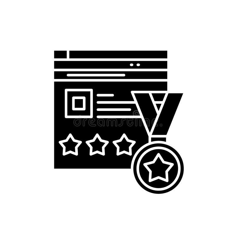 Webiste rating black icon, vector sign on isolated background. Webiste rating concept symbol, illustration. Webiste rating black icon, concept vector sign on vector illustration