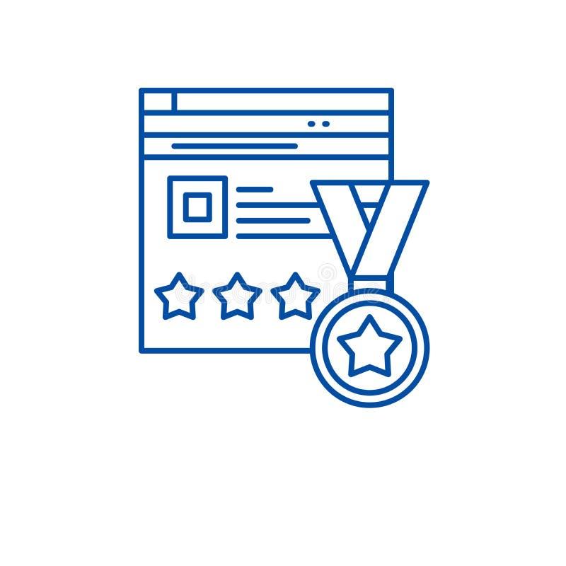 Webiste rating line icon concept. Webiste rating flat  vector symbol, sign, outline illustration. Webiste rating line concept icon. Webiste rating flat  vector royalty free illustration