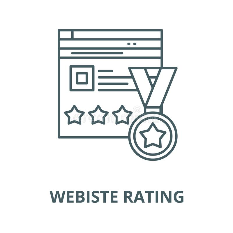 Webiste rating vector line icon, linear concept, outline sign, symbol. Webiste rating vector line icon, outline concept, linear sign royalty free illustration