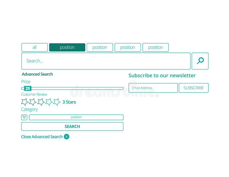 Webiste search panel. Search bar template flat design set vector illustration