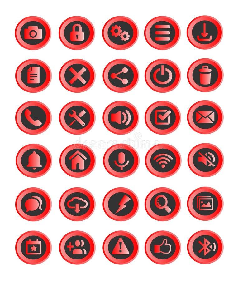 30 Webknopen of pictogrammen, toepassingen stock illustratie