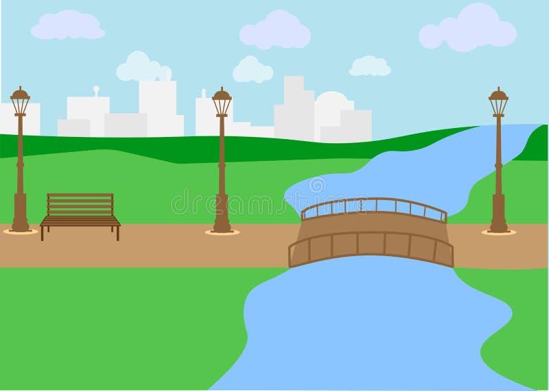 WebLandscape в парке города Скамейка в парке и деревья около озера Стиль вектора плоский иллюстрация вектора