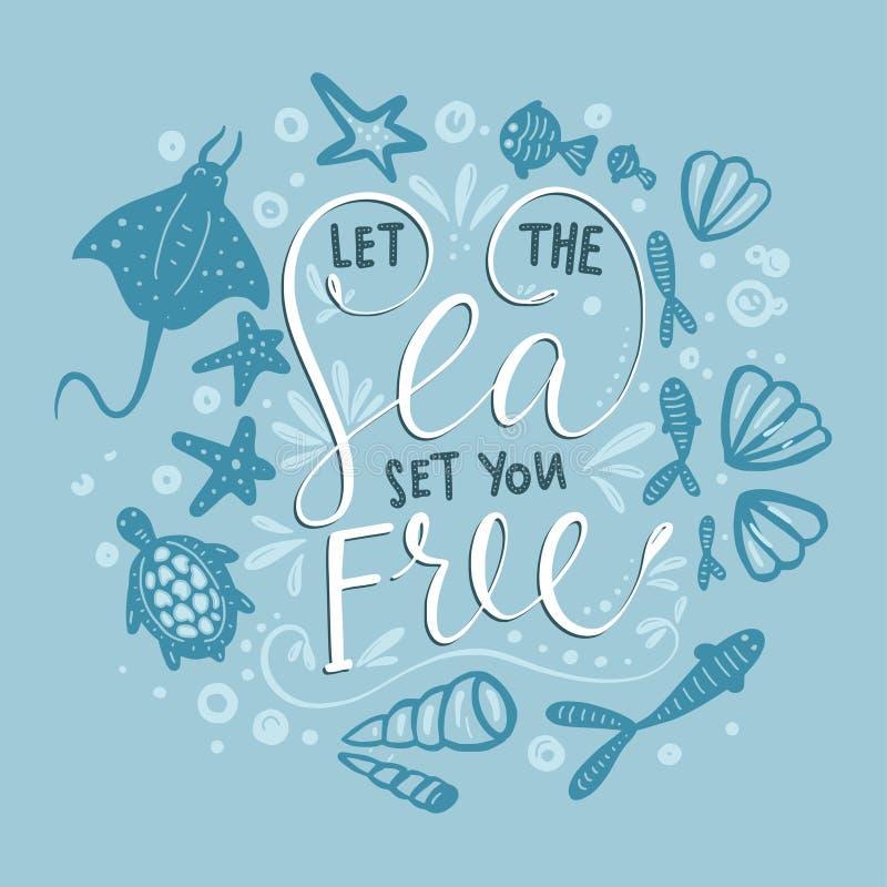 WebLet havsuppsättningen dig fritt Vektorbokstäverkort med handdrawn uttryck royaltyfri illustrationer