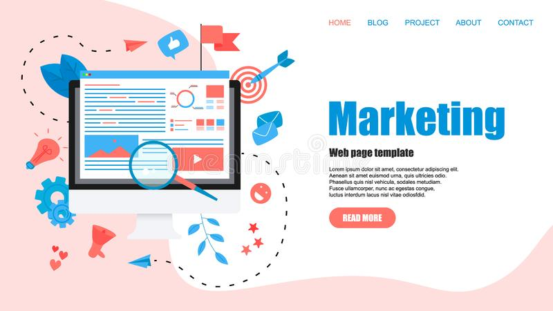 Webmalplaatje Concept voor Digitaal op de markt brengend agentschap, digitale media campagne vlakke vectorillustratie stock illustratie