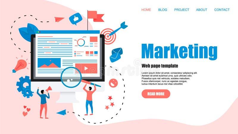 Webmalplaatje Concept voor Digitaal op de markt brengend agentschap, digitale media campagne vlakke vectorillustratie royalty-vrije illustratie