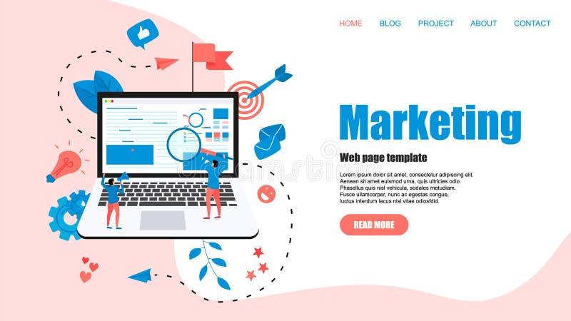 Webmalplaatje Concept voor Digitaal op de markt brengend agentschap, digitale media campagne vlakke vectorillustratie vector illustratie