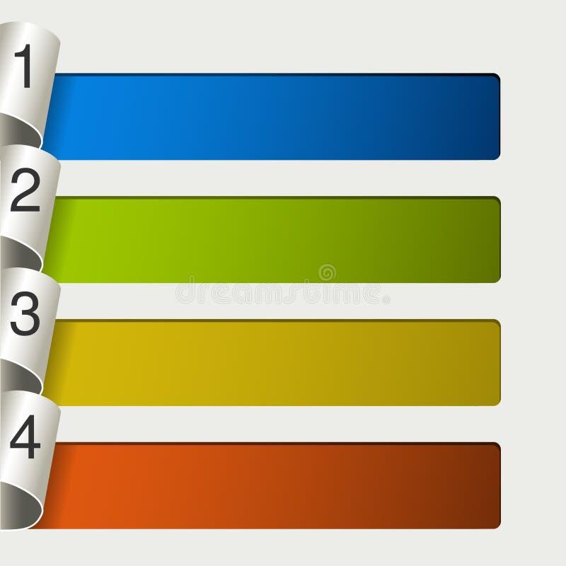 Webmalplaatje - 4 stappen, opties, banners stock illustratie
