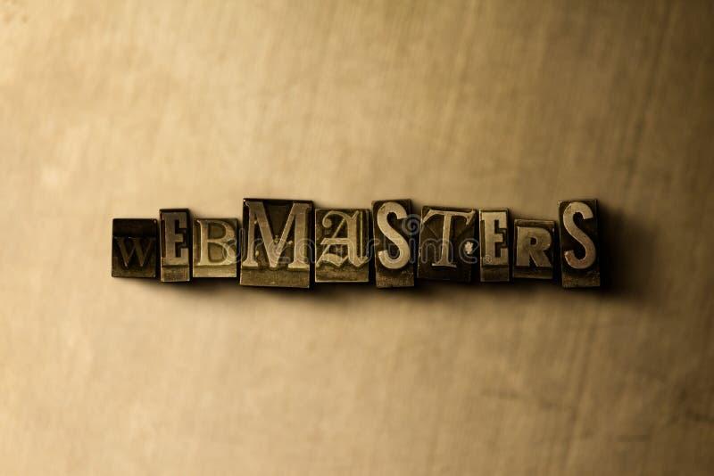 WEBMASTER - primo piano della parola composta annata grungy sul contesto del metallo illustrazione di stock