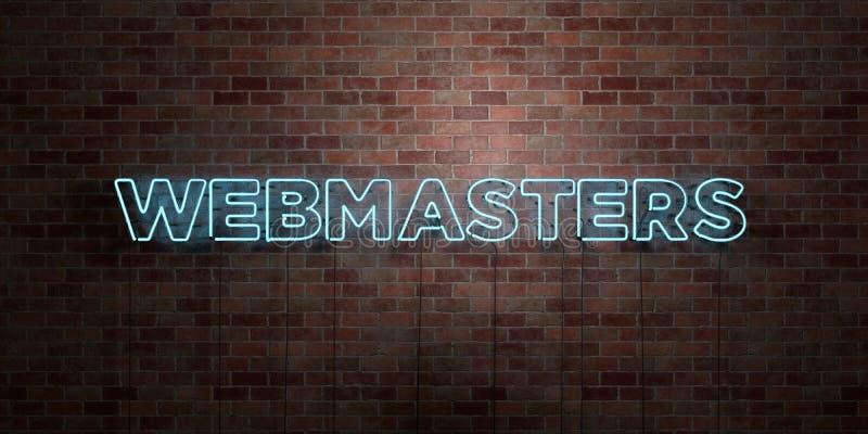 WEBMASTER - segno fluorescente del tubo al neon su muratura - vista frontale - 3D ha reso l'immagine di riserva libera della sovr illustrazione di stock