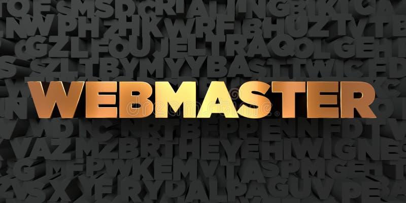 Webmaster - texto del oro en fondo negro - imagen común libre rendida 3D de los derechos stock de ilustración