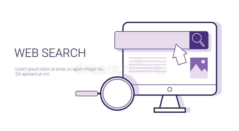 Webonderzoek het Doorbladeren het Webbanner van het Bedrijfsconceptenmalplaatje met Exemplaarruimte vector illustratie