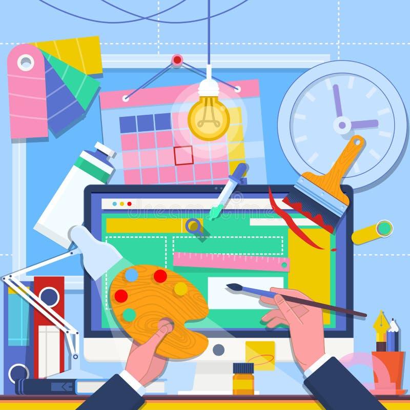 Webontwerp en freelance conceptenillustratie Webontwikkeling Het gebruikersinterfacewireframe prototype van het websiteontwerp GU vector illustratie