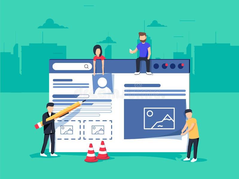 Webontwerp en Ontwikkeling Plaats in aanbouw Een team van jonge beroeps die aan een landende pagina werken royalty-vrije illustratie