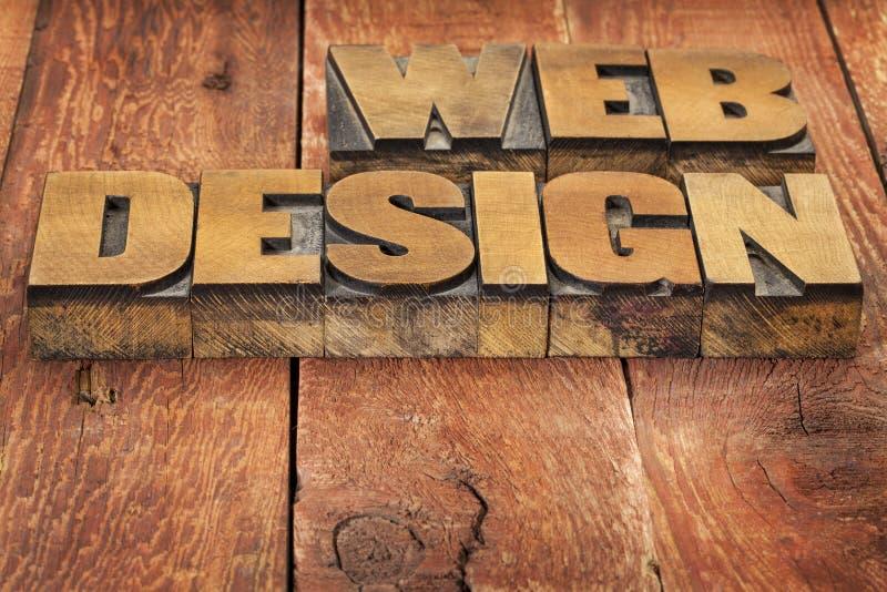 Webontwerp in houten type stock afbeelding