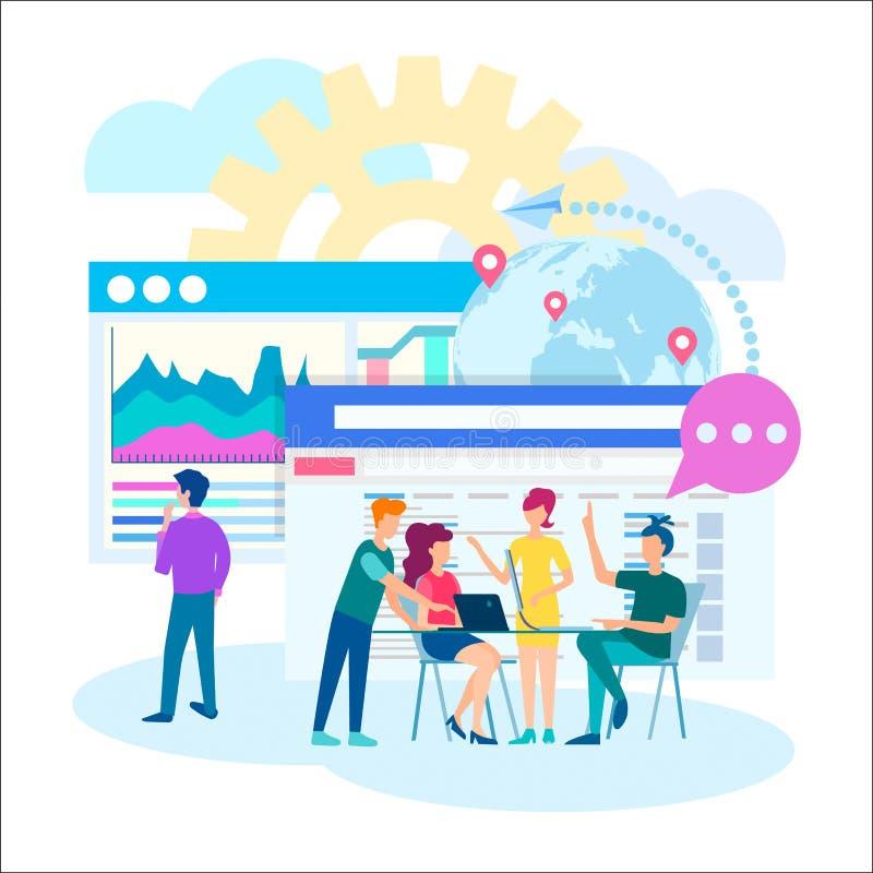 Webontwerp, programmering die, technologie, in het bureauconcept samenkomt vector illustratie
