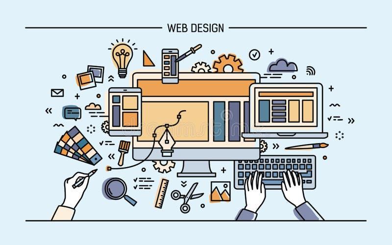 Webontwikkeling, de banner van de lijnkunst plaats met ontvankelijk ontwerp Kleurrijke vlakke vectorillustratie vector illustratie