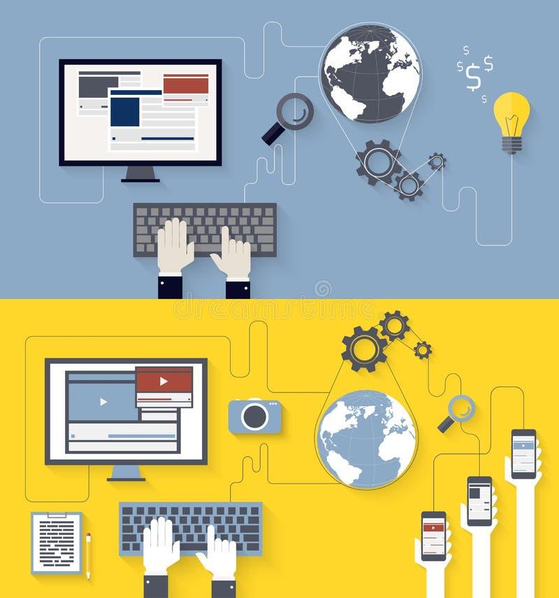 Webontwikkeling en blogging ontwerp stock illustratie
