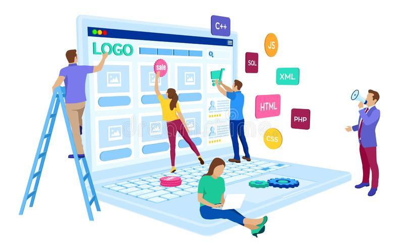 Webontwikkeling Het projectteam van ingenieurs voor website creeert De webpaginabouw UI UX-ontwerp Karakters op een concept Webag vector illustratie