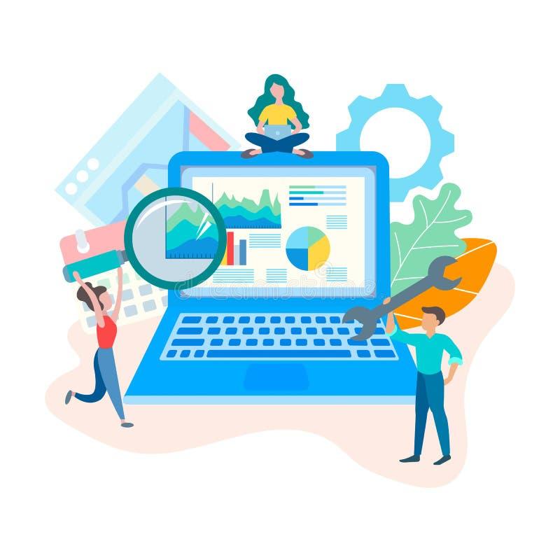 Webontwikkeling Seooptimalisering en het concept van het websiteontwerp vector illustratie