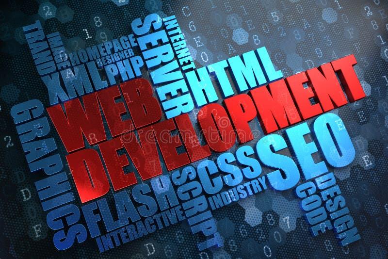 Webontwikkeling. Wordcloudconcept. vector illustratie