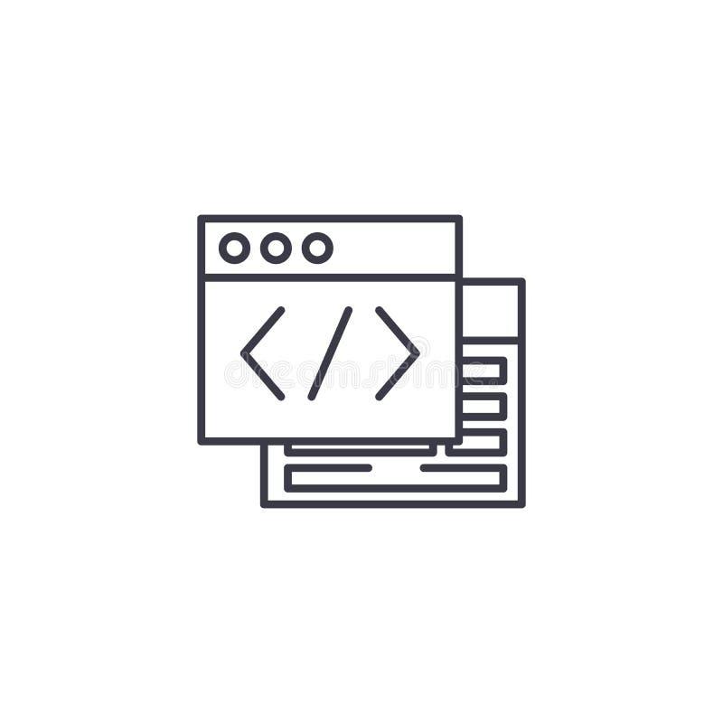 Webpage źródła ikony liniowy pojęcie Webpage źródła linii wektoru znak, symbol, ilustracja ilustracja wektor