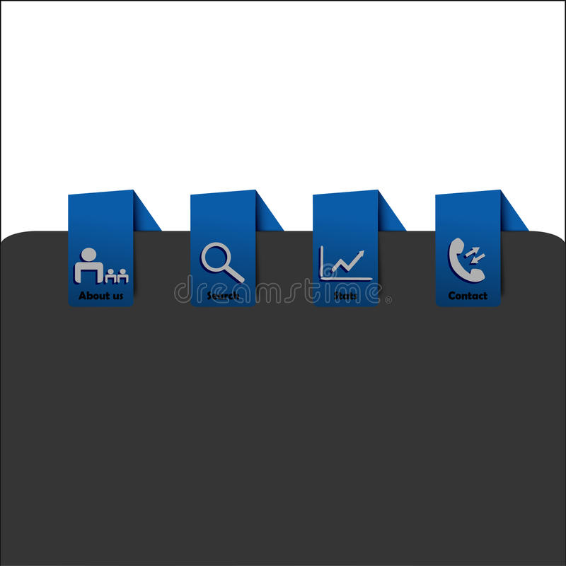 Webpage blue navigation menu with icons stock photo