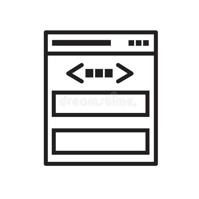 webpage code in browser icon royalty free illustration