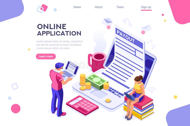 Webpage Work Bills Form Page. Work bills, coin site, money on blank webpage. Form, landing page concept for infographics, hero images. Flat isometric vector stock illustration