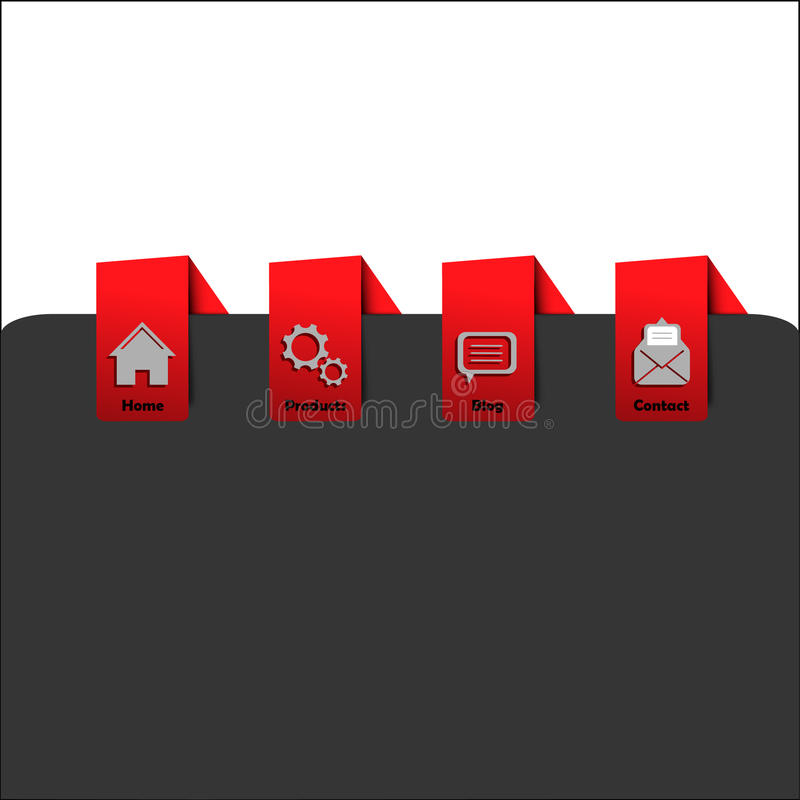 Webpage red navigation menu with icons royalty free stock photos