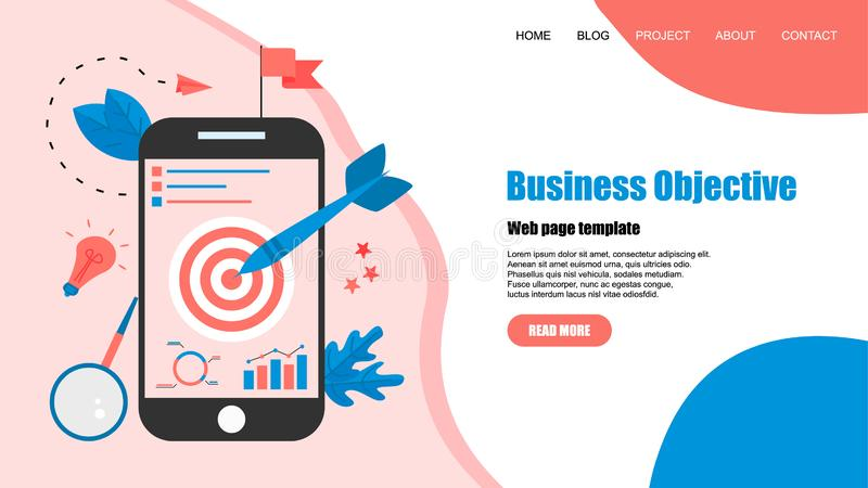 Webpage template. Business objective with an arrow, hit the target, goal achievement. Business concept vector illustration.  royalty free illustration
